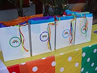 Rainbow theme Stickered gift bags with ribbon